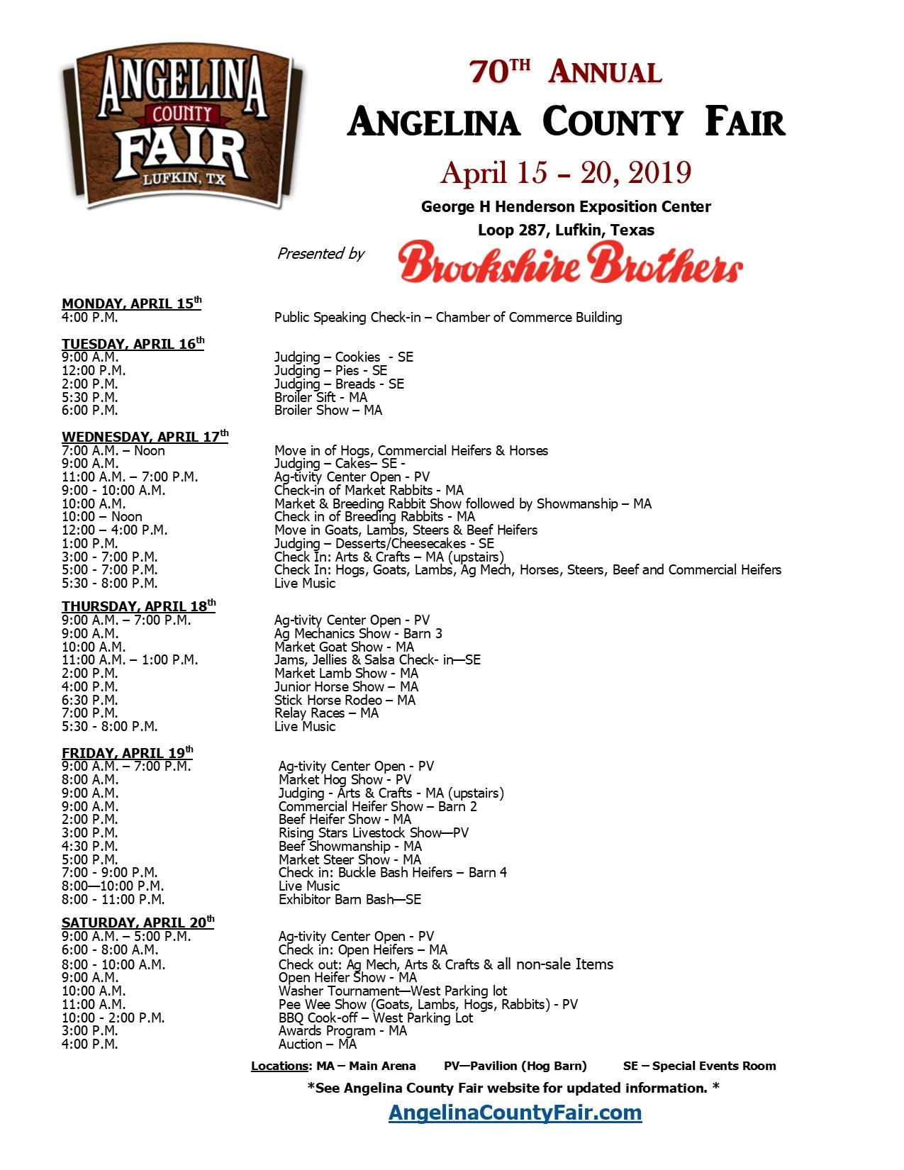 Angelina County Fair & Schedule