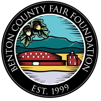 graphic - Foundation logo circle around a stylized scene showing Mary's Peak, an oak tree and a Fairgrounds building