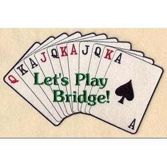 Playing cards fanned out with Let's Play Bridge written across the cards