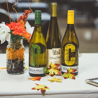 Wine bottles on a table