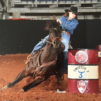 Barrel racing cowgirl and horse