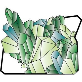 Crystals superimposed over the outline of the map of  the State of Oregon