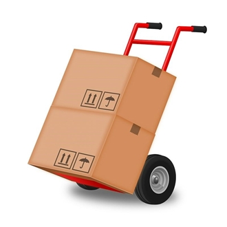 Box on an hand truck ready for moving