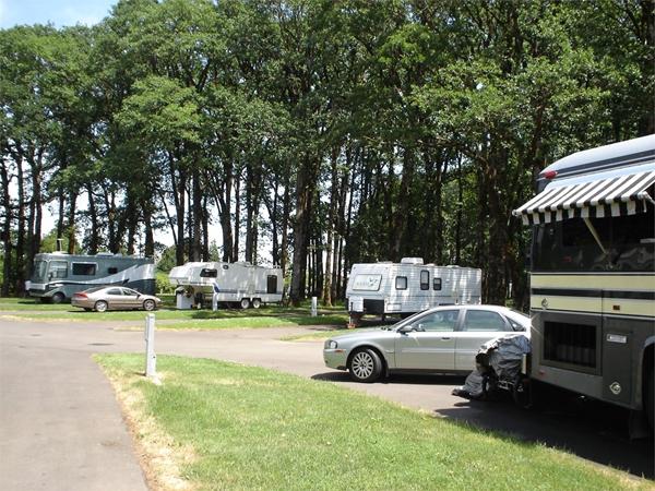 RVs camped at Benton Oaks Campground