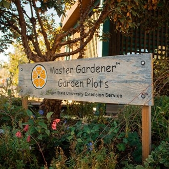 Entry signage to Master Gardeners' Garden at the Benton County Event Center and Fairgrounds