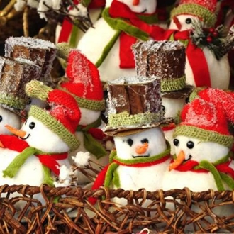 photograph of snowmen Christmas ornaments  in a basket