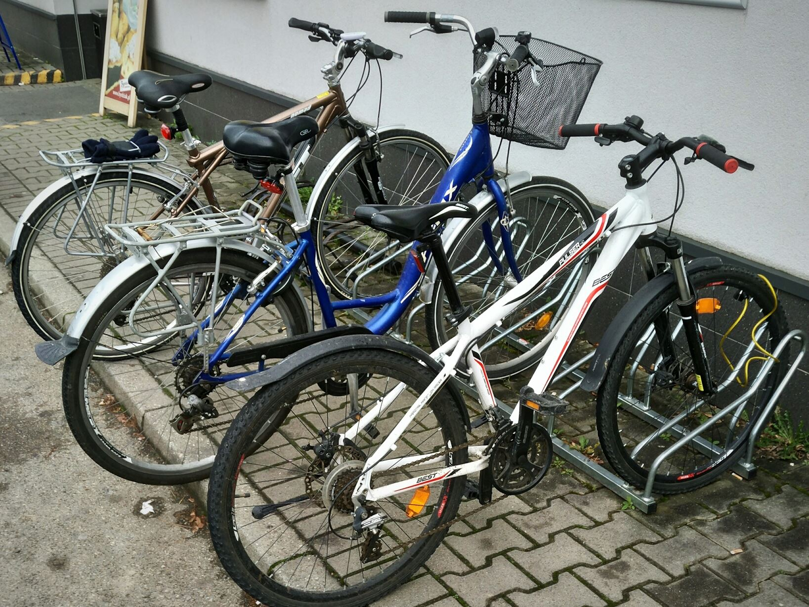 Bikes parked in a bike rack