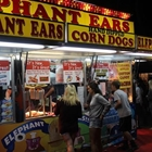 Photo: Elephant Ear stand, lit up at night, with a line of people buying food