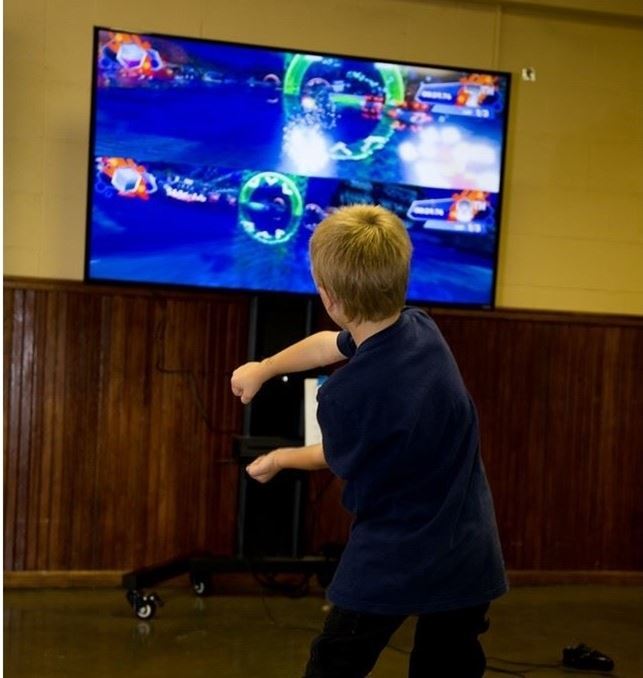 Young boy playing a video game