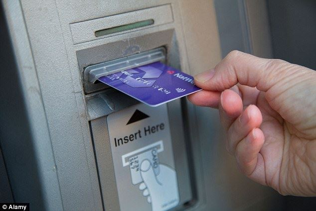 Bank card being inserted into an ATM
