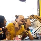 Girls laughing at a Carnival booth filled with toy stuffed tigers