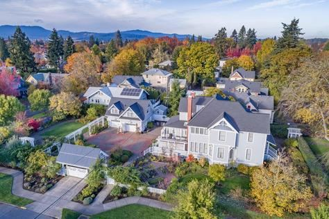 Aerial view of homes, Corvallis, OR