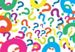 graphic of many, multi-colored question marks floating on an unmarked background