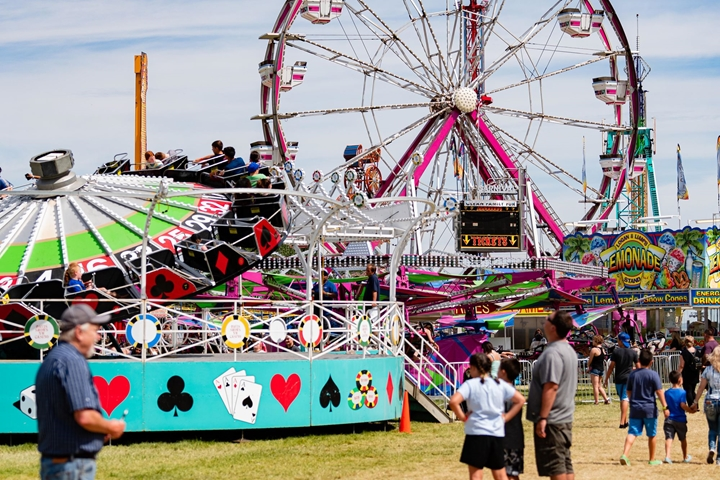 Carnival photo of multiple rides and fairgoers