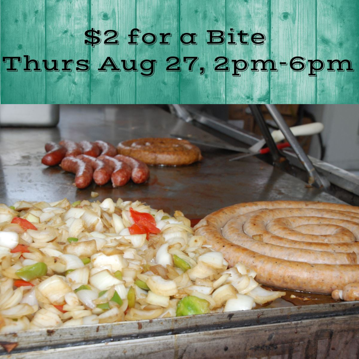 $2 for a Bite, image of sausage and onions