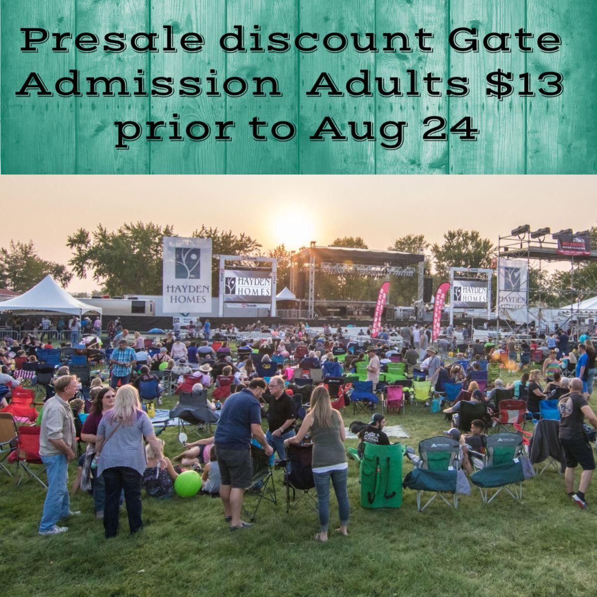 Presale Admission $12 prior to Aug 24