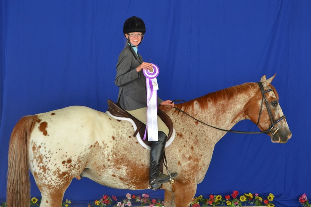 4-H exhibitor on her appaloosa horse holding a ribbon