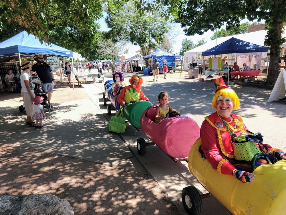 LUH Clown getting a ride in a barrel train