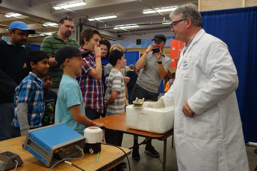 NIST Science Guy giving a demonstration in Exhibit Building