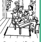 Cartoon image of kids gathered around a table doing a craft