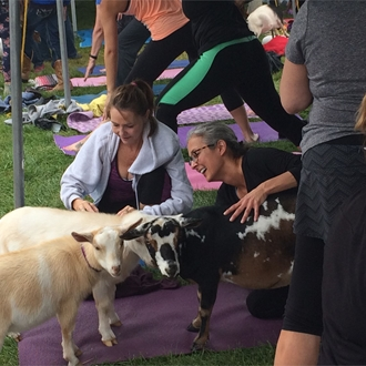 Two women smiling and petting goats during Goat Yoga