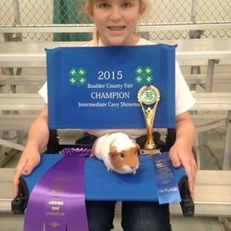 4-H youth and her tan and white 2015 champion Cavy