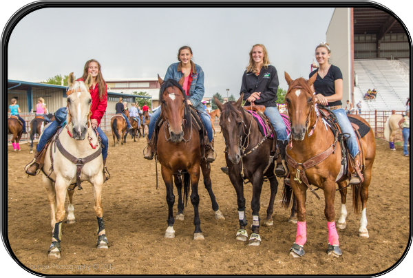Four cowgirls waiting for gymkhana events