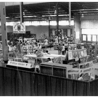 Old photo of displays in  Exhibit Building  at Roosevelt Park
