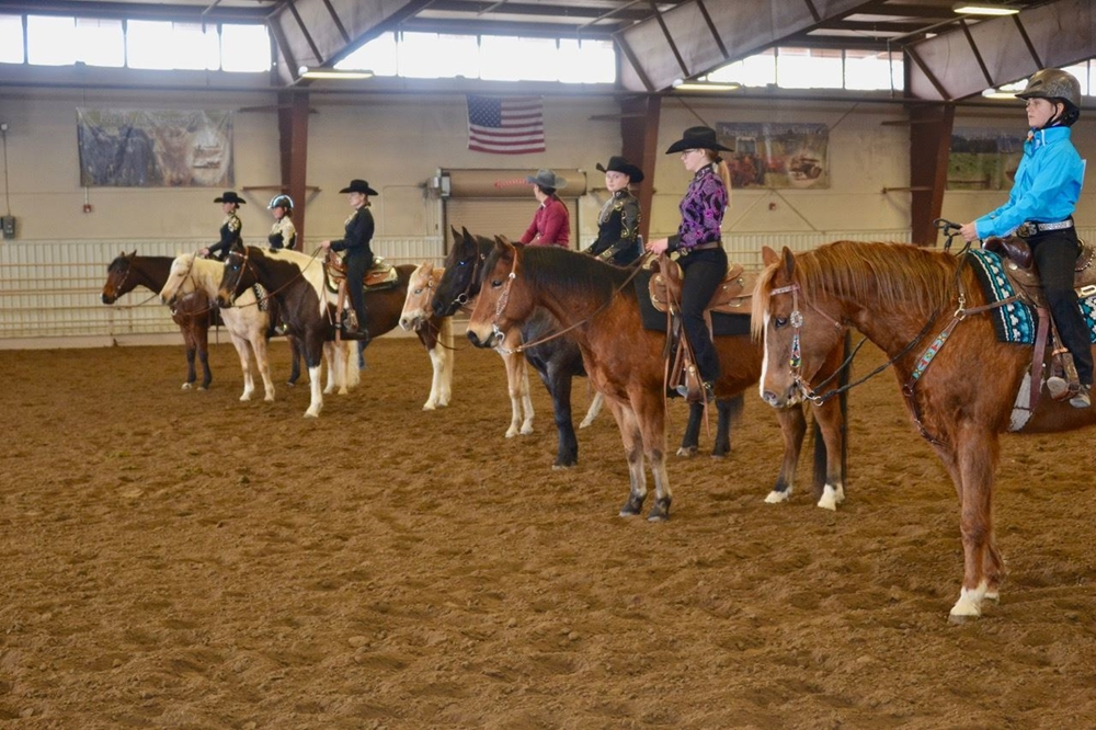 4-H youths showing their horses in a horsemanship class