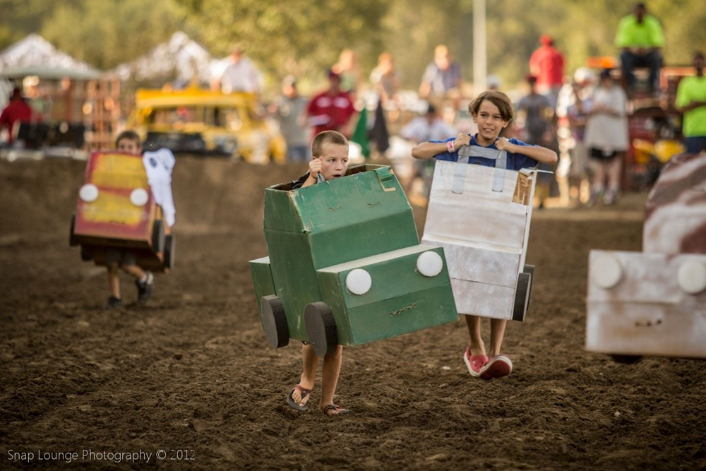 Kids participating in Box Car Derby contest