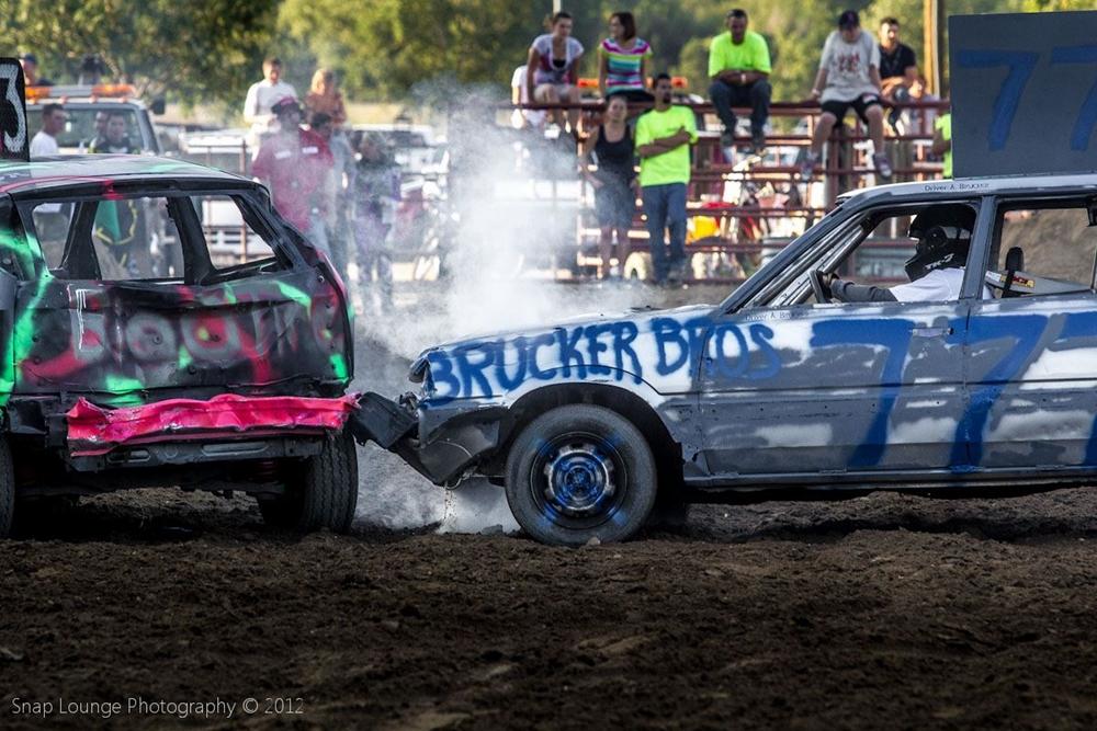 Brucker Bros Demo car 777 crashes into another car.