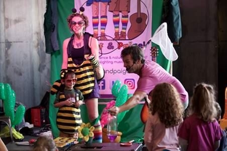 Jeff & Paige Band characters dressed up as bees