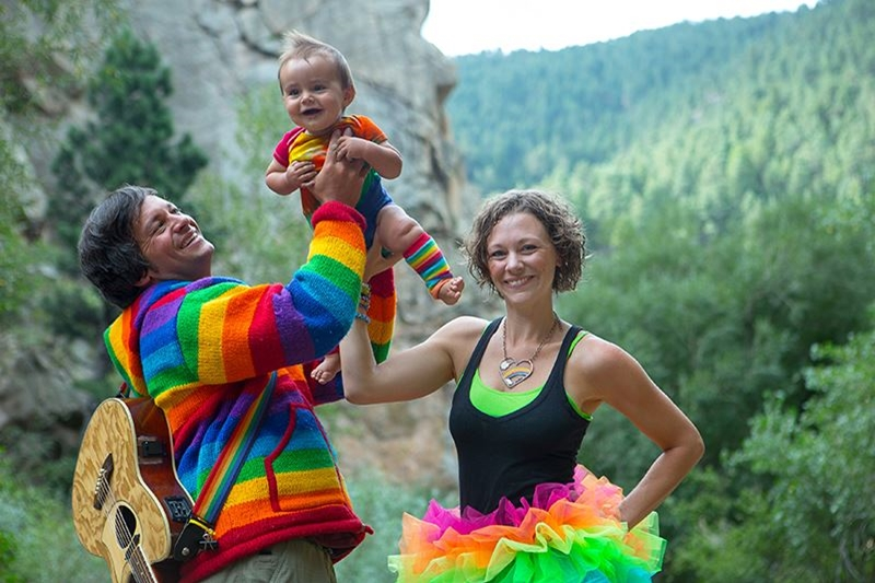 Jeff & Paige Band with baby dressed as clowns in the mountains