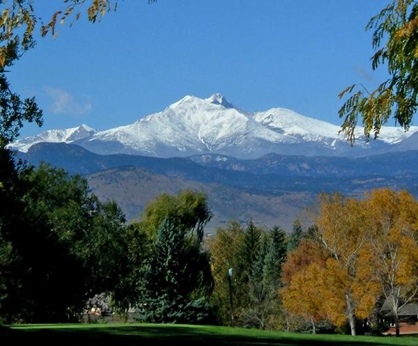 A mountain view taken in Longmont showing Longs Peak