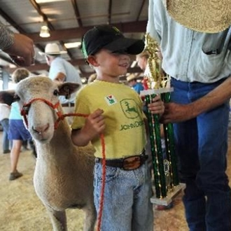 Little Boy holding a sheep with a big trophy in his arms