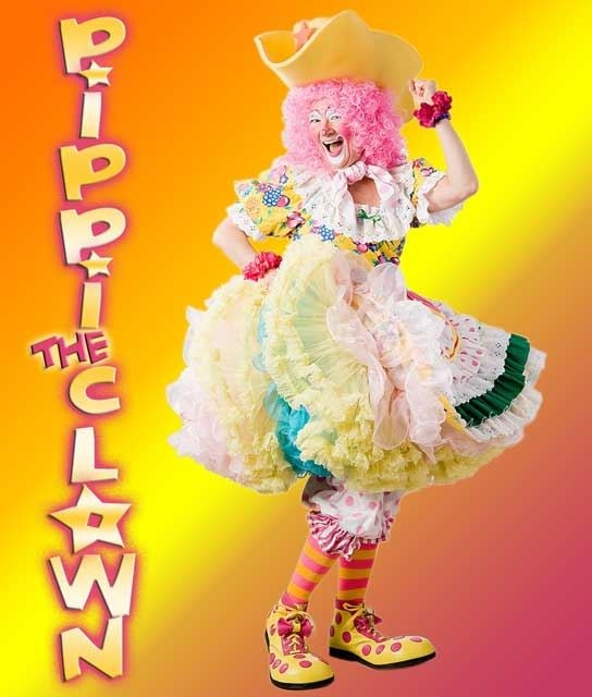 Pippi the Clown in brightly colored clothes