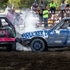 Two cars crashing in the Demo Derby