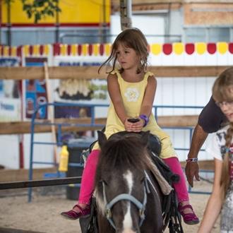 A little girl enjoying her pony ride