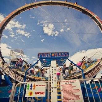 circular roller coaster ride at the Fair