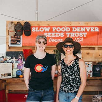 Two women from Slow Food organization