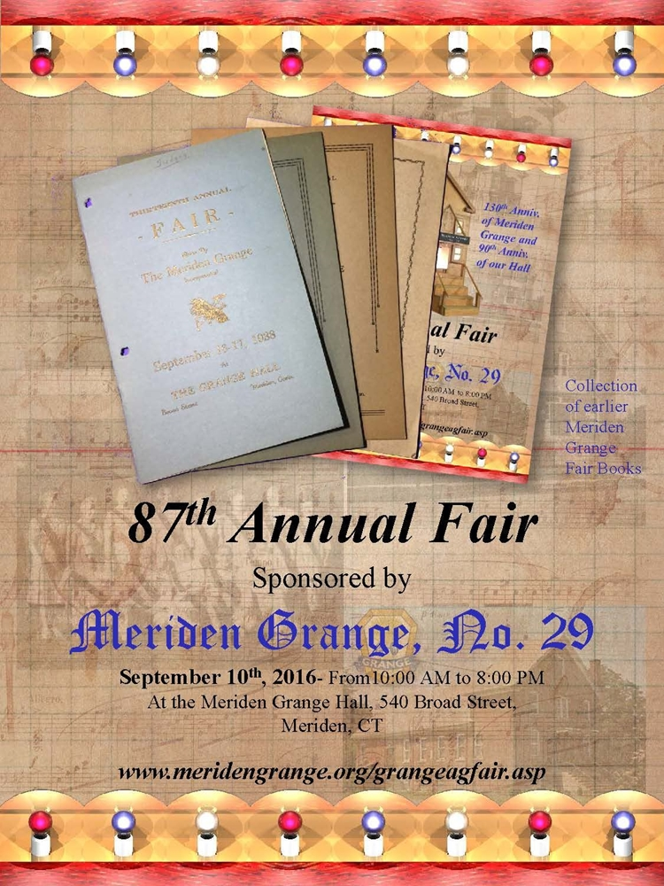 87th Meriden Grange Fair Premium Book Cover