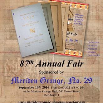 87th Meriden Grange Fair Premium Book Cover