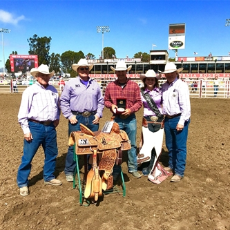 CALIFORNIA RODEO SALINAS ALL AROUND CHAMPION WINS A SADDLE THIS YEAR