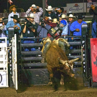 PROFESSIONAL BULL RIDING BUCKS INTO SALINAS JULY 15TH