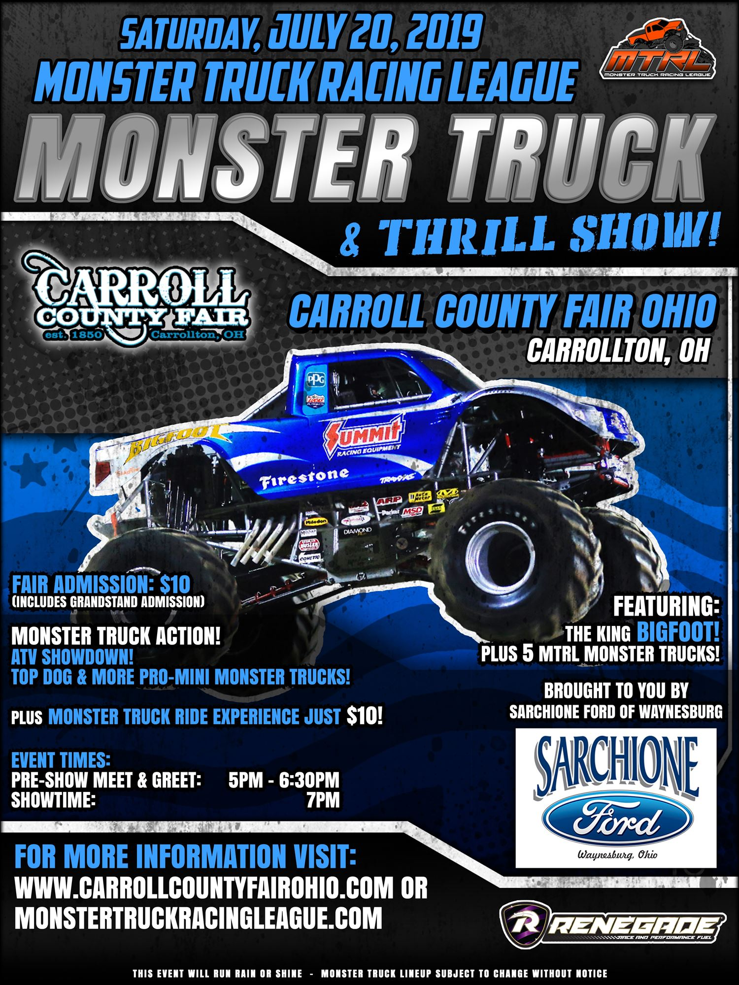 Sarchione Ford Waynesburg >> Monster Truck Thrill Show