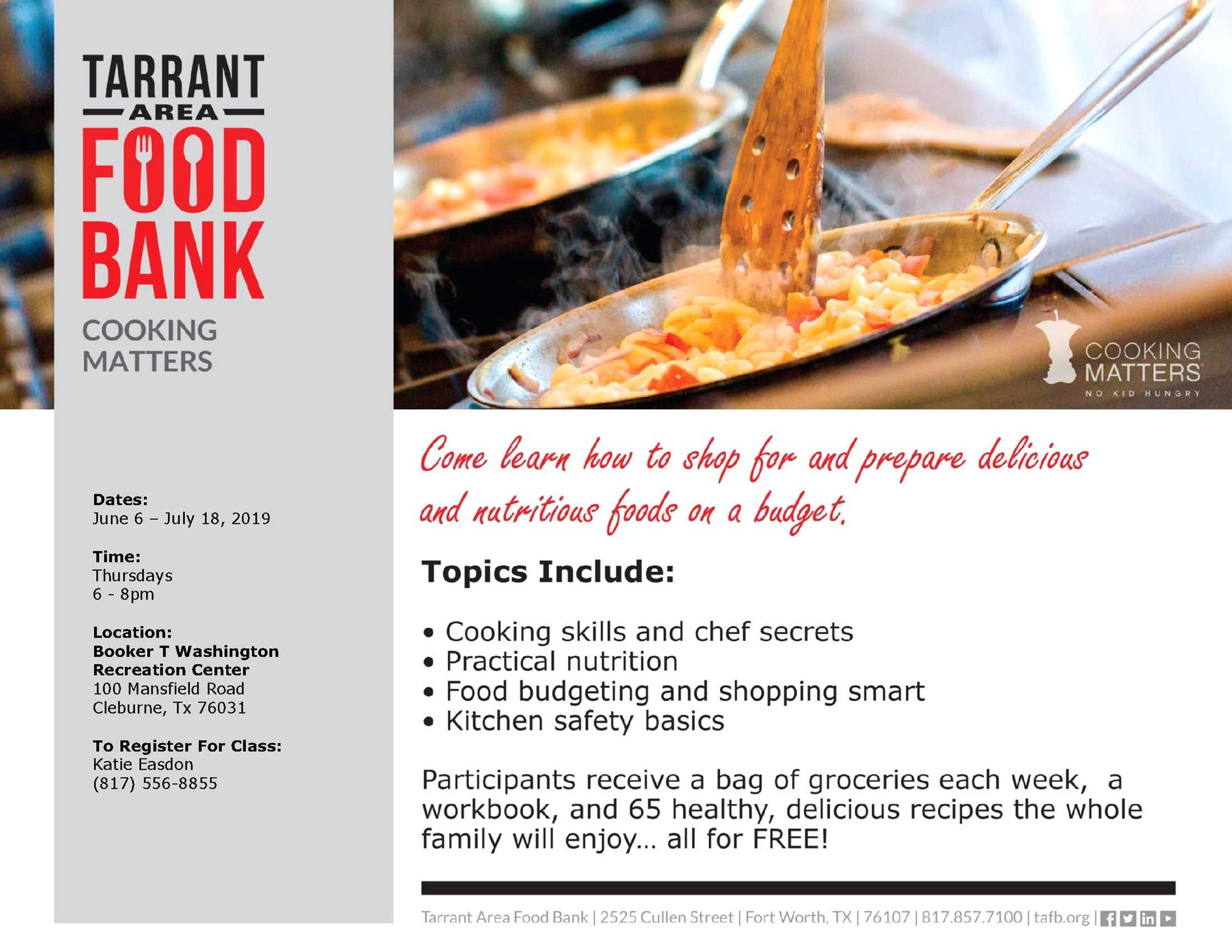 Free Cooking Class at Booker T Washington