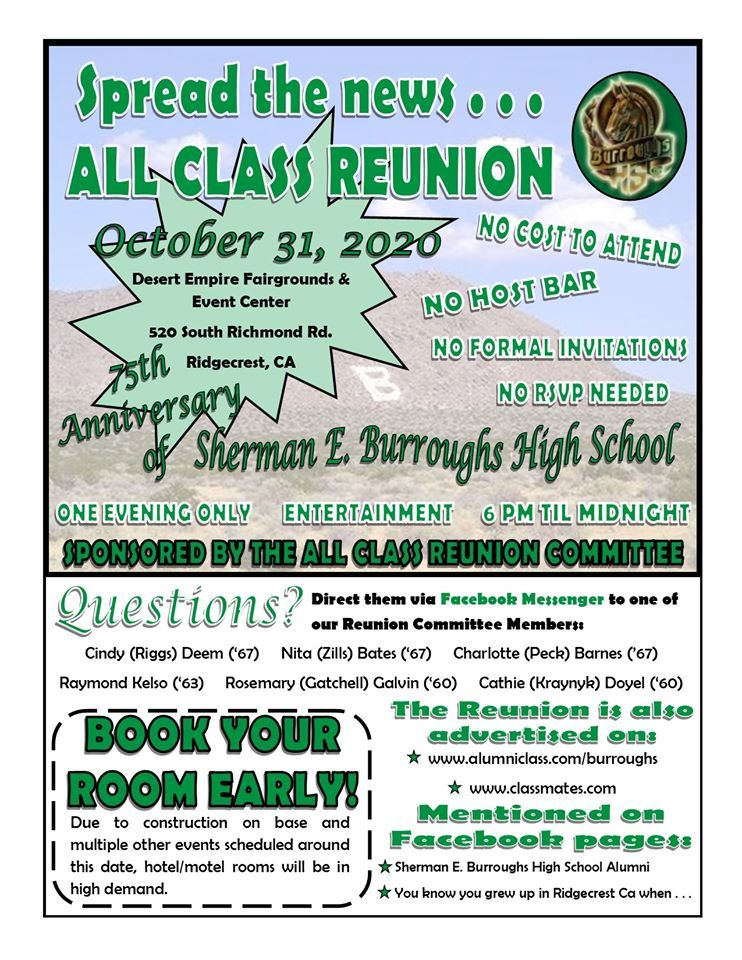 Oct. 31st: BHS All Class Reunion