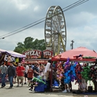 a festival with several people, vendor booths and a Ferris wheel on a cloudy day