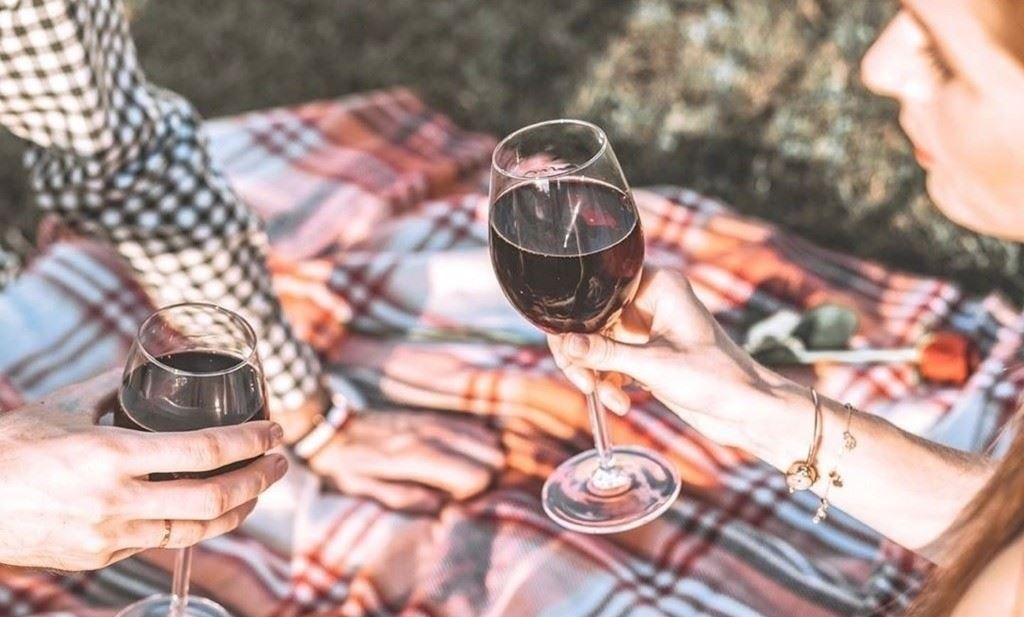 A coule on a picnic blanket holding wine glasses