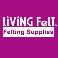 A logo with the words Living Felt